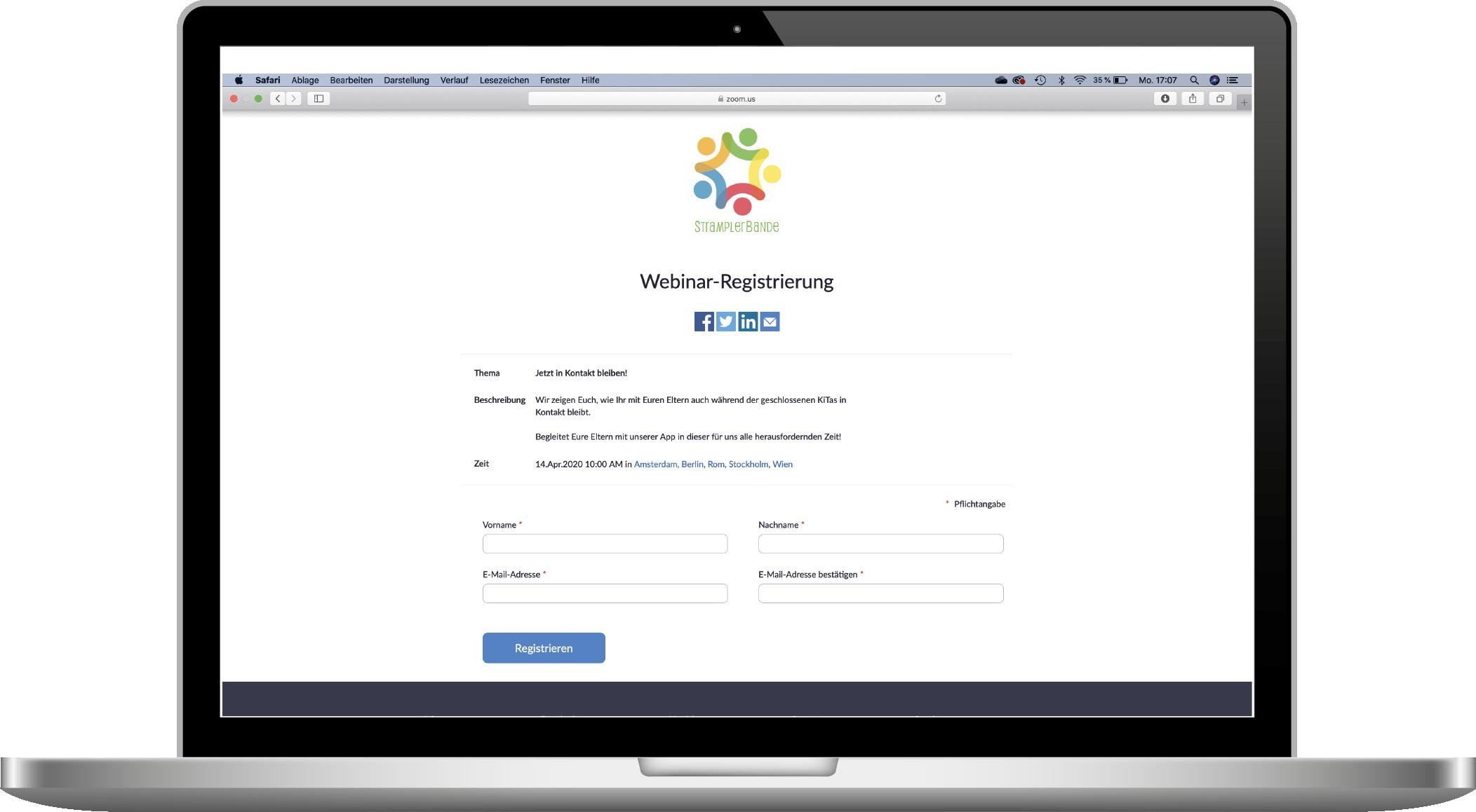 Kita-App Webinar Registrierung