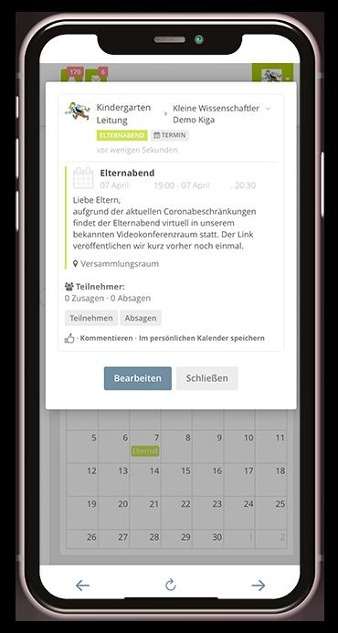 Kalenderfunktion der Kita-App Stramplerbande