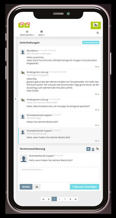 Screenshot aus der Kita-App Stramplerbande zum Messenger