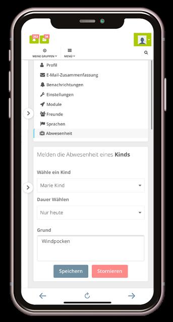 Krankmeldefunktion Kita-App Stramplerbande