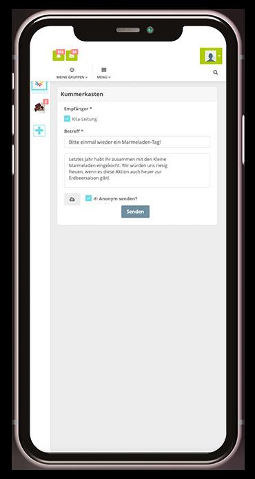 Screenshot des Kummerkasten aus der Kita-App Stramplerbande