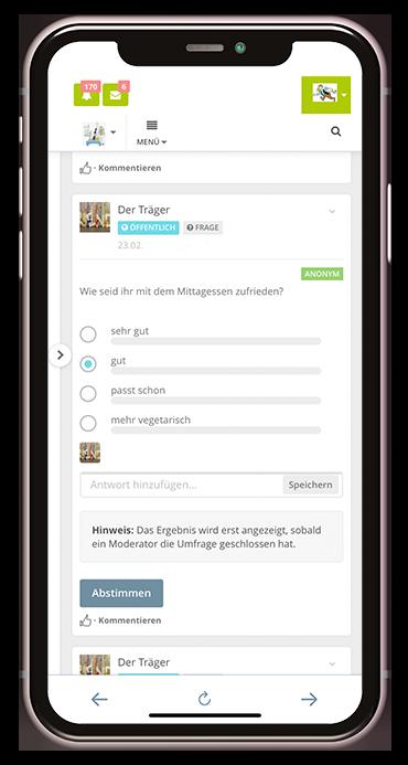 Screenshot aus der Kita-App Stramplerbande zum Umfrage-Tool