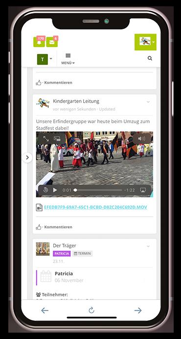 Videofunktion der Kita-App Stramplerbande
