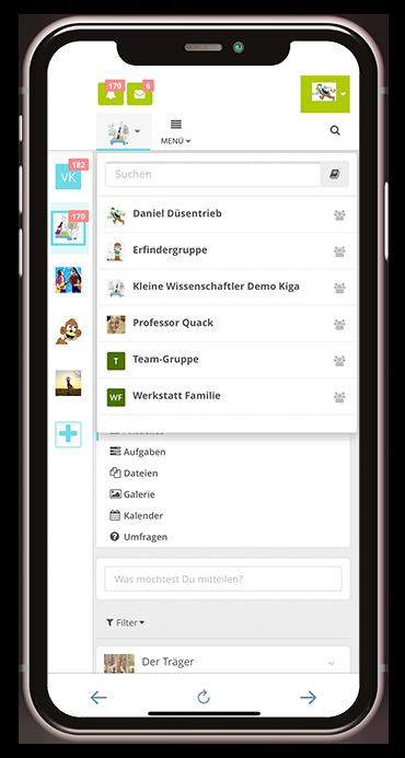 Gruppenübersicht aus der Kita-App Stramplerbande