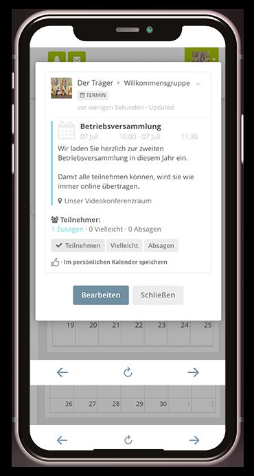 Kalendereintrag zur Trägerfunktion in der Kita-App Stramplerbande